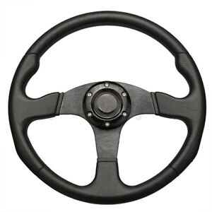 Pu Leather 14 Car Steering Wheel Black Deep Dish 6 Bolt Racing Steering Wheel