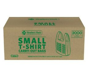 2000ct Small T shirt Carry Out Retail Plastic Bags Recyclable Store Shopping