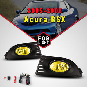 For 2005 2006 Acura Rsx Fog Lights Yellow Glass Lens Wiring Kit Switch Pair Lamp
