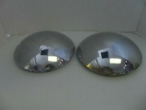 2 Dog Dish Vintage Hubcaps Baby Moons Heavy Ones 8 Chrome
