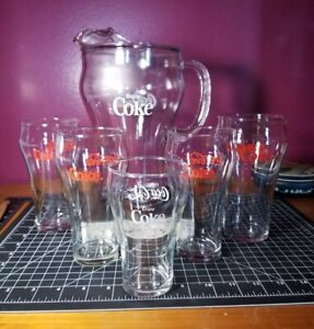 "Vintage Coke Coca-Cola 9"" Tall Clear Glass Lip Pitcher with 6 glasses Classic"