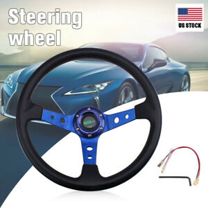 Racing Universal 350mm 14 6 Bolt Car Steering Wheel Horn Button 95mm Deep Dish
