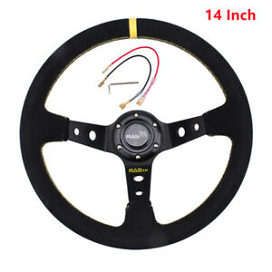 14 Suede Leather Steering Wheel Embroidery Deep Dish 93mm Drifting