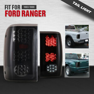 For 1993 1999 Ford Ranger Tail Lights Led Replacement Lamp Pair Black Smoke