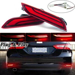Pair Led Rear Bumper Reflector Drl Brake Stop Light For Toyota Camry 2018 2020