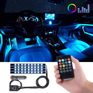4x 48 Led Car Suv Interior Decor Neon Atmosphere Light Strip Music Control Color
