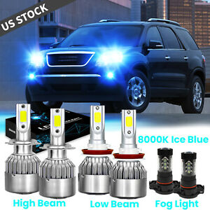 6x Ice Blue Led Headlight Fog Light For Gmc Acadia 2007 2008 2009 2011 2012