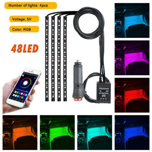 4pcs 36led Rgb Light Strip Car Atmosphere App Control Interior Lamp Multi Color