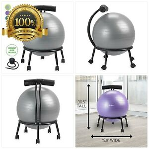 Gaiam Adjustable Custom fit Balance Ball Chair Stability Ball Desk Chair With 5