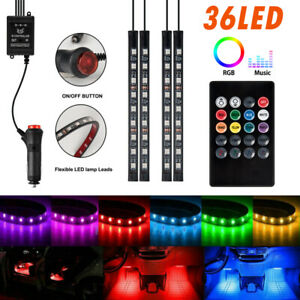 4pcs 72 Led Car Interior Atmosphere Neon Lights Strip Music Control W Ir Remote