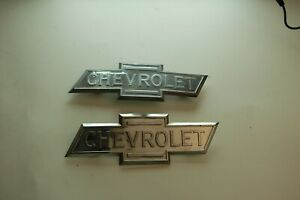 Set Of 2 Vintage Original Tin 1930 s Chevrolet Truck Side Emblem Pair Both Tabs