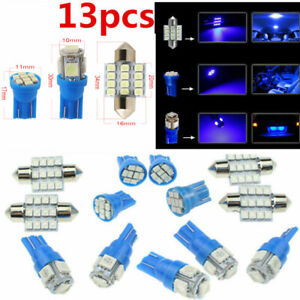 13x Super Blue Led Lights Interior Package Kit For Dome License Plate Lamp Bulb
