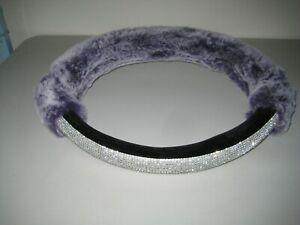 Valleycomfy Purple Fur Rhinestones Steering Wheel Cover new Never Used Bling