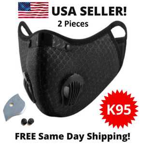 2 Pcs Usa Reusable Cycling Face Mask With Active Carbon Filter Breathing Valves