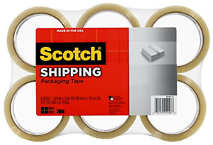 Scotch Lightweight Shipping Packaging Tape 1 88 Inches X 54 6 Yards 6 Rolls