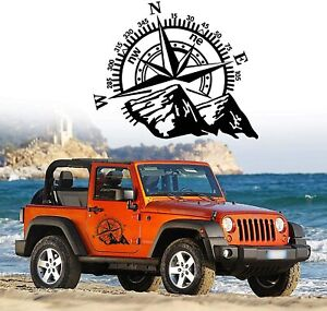 24 X20 Mountain Compass Graphics Sticker For Suv Car Hood Body Side Doors Black
