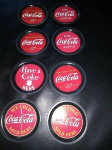 8 Small Tin Coca Cola Coasters