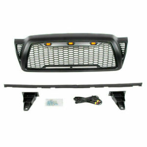 Front Grille Bumper Hood Mesh Grill With Led Lights For 2005 2011 Toyota Tacoma