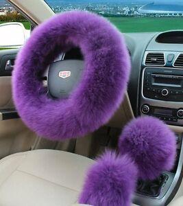 3pc Purple Australia Wool Steering Wheel Cover Fuzzy Auto Car Interior Cover Us