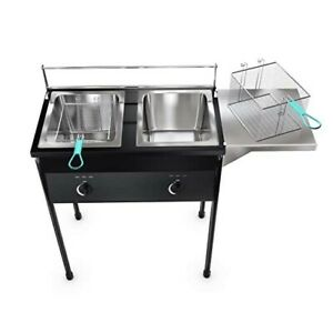 Taco Cart Two Tank Double Deep Fryer Heavy Duty Compatible With Propane Gas Tank