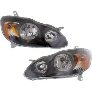 Headlight For 2003 2008 Toyota Corolla Pair Lh And Rh Assembly Black Oe Upgrade