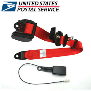 Red 3 Point Retractable Car Safety Seat Belts Lap W Warning Cable Us Stock
