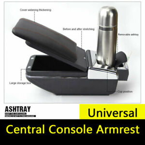 Universal Leather Car Armrest Pad Covers Center Console Pads Black Pu Leather Us