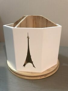 New White Wooden Eiffel Tower Spinning Divided Pencil Cup Desk Organizer