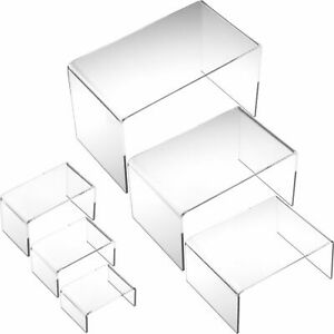 6 Clear Acrylic Risers Jewelry Display Countertop Stands