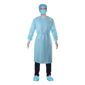 10pcs Medical Dental Aami Level 2 Isolation Gown Disposable Knit Cuff Unisex Usa