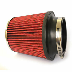 Red 3 76mm Inlet Cold Air Intake Cone Replacement Quality Dry Air Filter