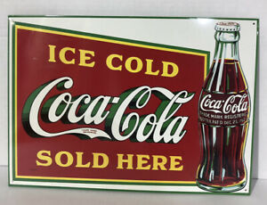 "Coca-Cola Vintage Ice Cold Coca-Cola Sold Here Metal Sign.1989  173/8""x123/8"""