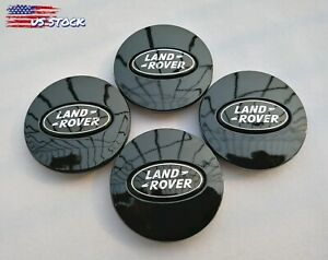 set Of 4 2 5 All Black Logo Land Rover Wheel Center Caps 63mm Fit Range Rover