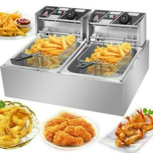 5000w Electric Deep Fryer 12l Dual Tank Commercial Restaurant Frying Basket