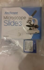 Amscope 100 Pre cleaned Blank Microscope Slides 200 22x22mm Square Cover Glass