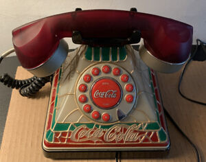 Coca-Cola Vintage Stained Glass Tiffany Style Lighted Telephone In Great Shape