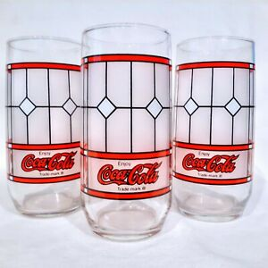 3 Coca Cola VINTAGE TIFFANY STYLE Drinking Glasses Coke FROSTED STAINED GLASS