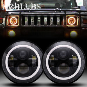 For 2006 2007 Hummer H3 Front Pair Led Headlights 7 Halo Ring Angel Eyes Sealed