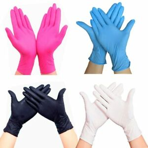 100 Disposable Rubber Latex Gloves Food Beverage Thicker Durable Pink Red Rose