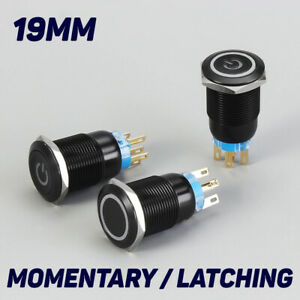 19mm Metal Black 12v Led Power Symbol 5pin Momentary Car Push Button Switch
