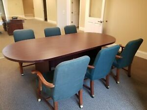 8 Conference Or Kitchen Table With 6 Upholstered Chairs Excellent Condition