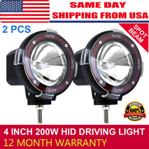 2pcs 4 Inch 200w Hid Driving Lights Spot Spotlights Round Red Work Offroad Lamp