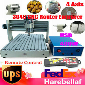 4 Axis Usb 3040 Cnc Router Engraver 3d Pcb Engraving Drilling Machine W Rc 400w