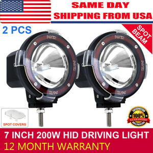 Pair 7 Inch 200w Hid Driving Lights Xenon Spotlights Offroad 4x4 Work 12v Us New