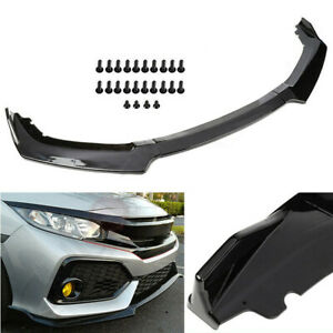 3pc Front Bumper Lip Body Kit Spoiler Wing Fits 2016 2019 Honda Civic Hatchback