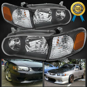 For 2001 2002 Toyota Corolla Black Housing Headlights With Amber Singal Lights
