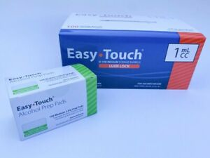Box Of 100 Easytouch 1ml Luer Lock Syringe Only No Needle 100 Alcohol Prep Pad