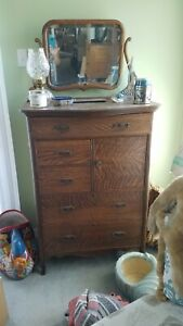 Antique Oak Highboy Dresser Chest With Mirror