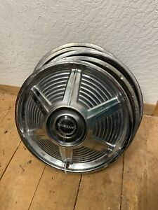 Original Set Of Vintage 1965 1966 Ford Mustang 14 Spinner Hubcaps Wheel Covers