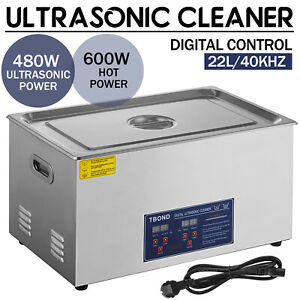New Stainless Steel 22l Liter Industry Heated Ultrasonic Cleaner Heater W timer